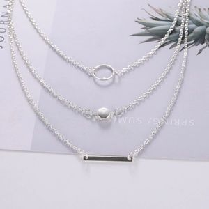 Jewelry - Silver Geometric Choker Multilayer Necklace